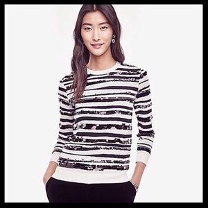 ANN TAYLOR zebra Striped Sequin Sweater—SZ. Lg
